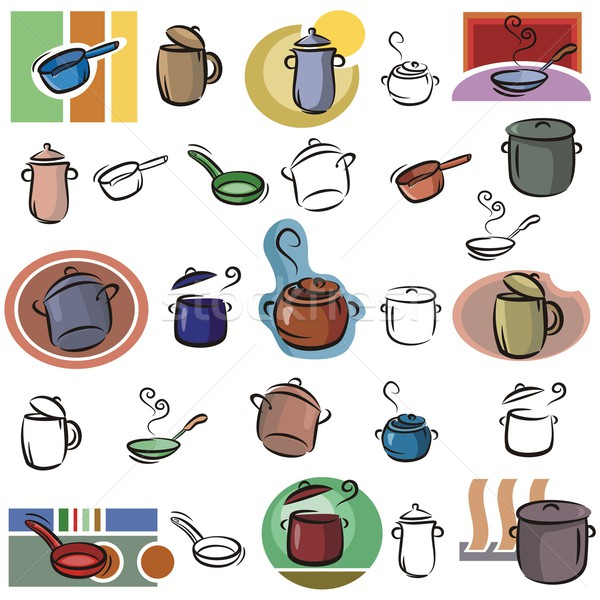 Vector Icon Series. Pots & Frying Pans. Stock photo © clipart_design