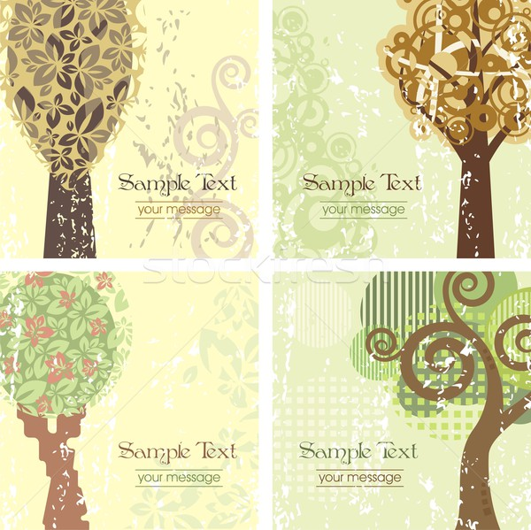 Vector set of vintage tree backgrounds with place for your text. Stock photo © clipart_design