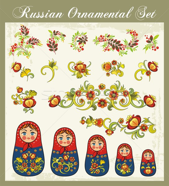 Vector ornamental set in traditional Russian style - Matryoshka dolls and various floral designs. Stock photo © clipart_design