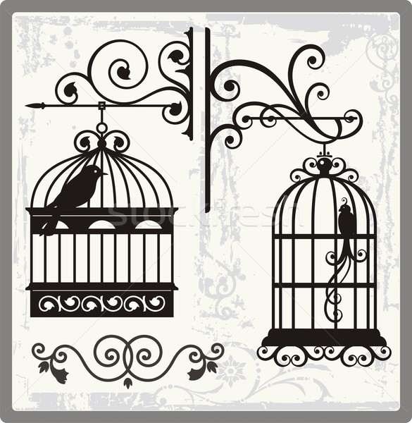 Vintage bird cages with ornamental decorations. Stock photo © clipart_design