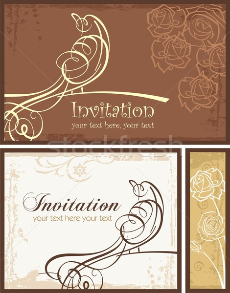 Vector set of ornamental invitation designs with calligraphic bird. Great for wedding invitations. Stock photo © clipart_design