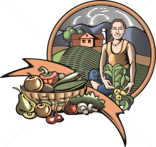 Vector illustration in retro woodcut style of a young female farmer, happy with the good harvest. Stock photo © clipart_design