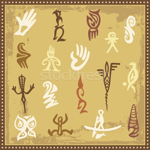Vector set of Australian aboriginal petroglyph ornaments. Stock photo © clipart_design