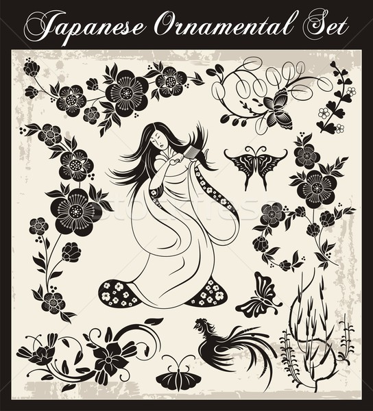 VeVector set of traditional Japanese ornaments and oriental decorative designs. Stock photo © clipart_design