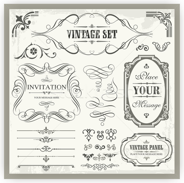 Vector set of vintage ornamental and page decoration calligraphic designs. Stock photo © clipart_design