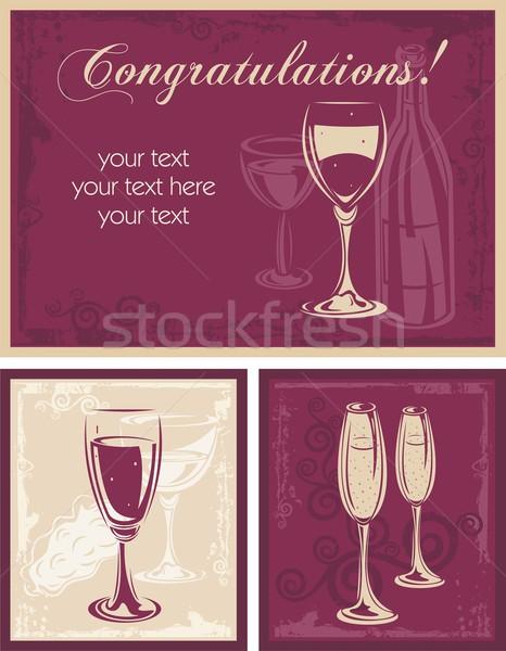 şarap vektör arka muhteşem kartları Stok fotoğraf © clipart_design
