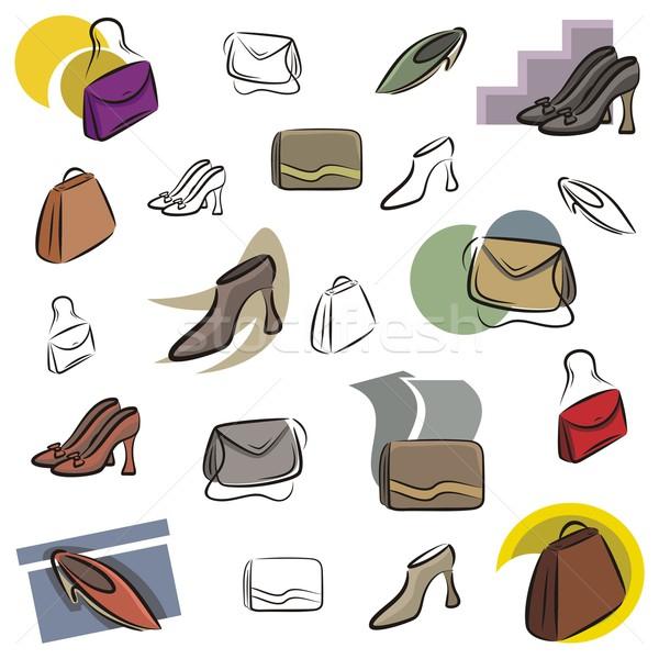 вектора икона мешки обувь набор иконки Сток-фото © clipart_design
