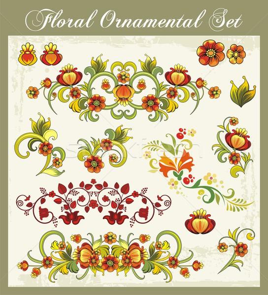 вектора цветочный декоративный набор Vintage стиль Сток-фото © clipart_design