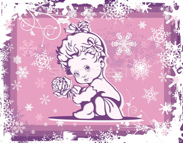 Vector illustration of a cute baby over a winter pattern. Stock photo © clipart_design