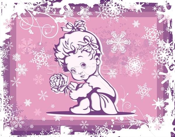 Cute baby winter patroon bloem meisje Stockfoto © clipart_design