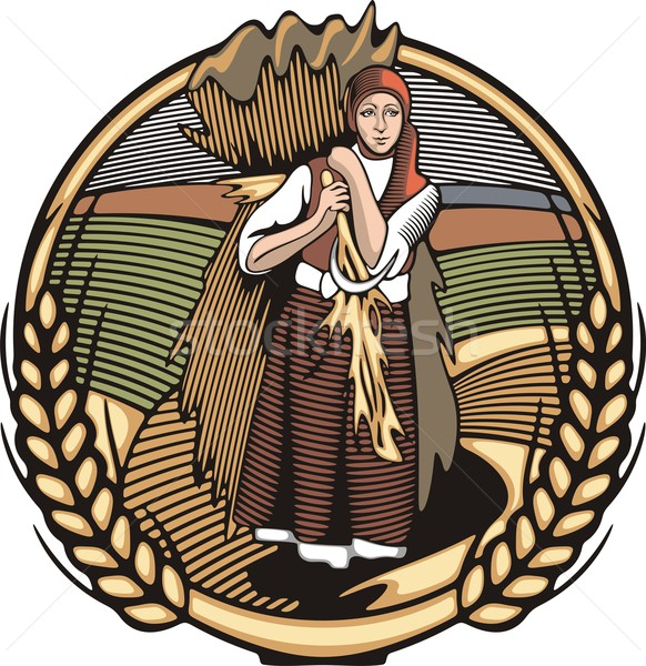 Vector illustration in retro woodcut style of a young female farmer, carrying grain harvest. Stock photo © clipart_design