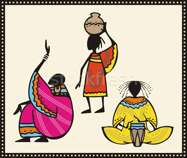 Vector set of African people in traditional clothing. Stock photo © clipart_design