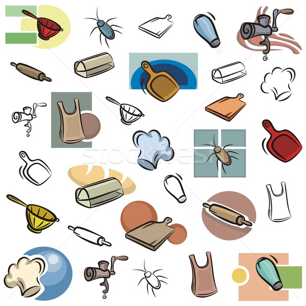 Vector icono cocina establecer iconos color Foto stock © clipart_design