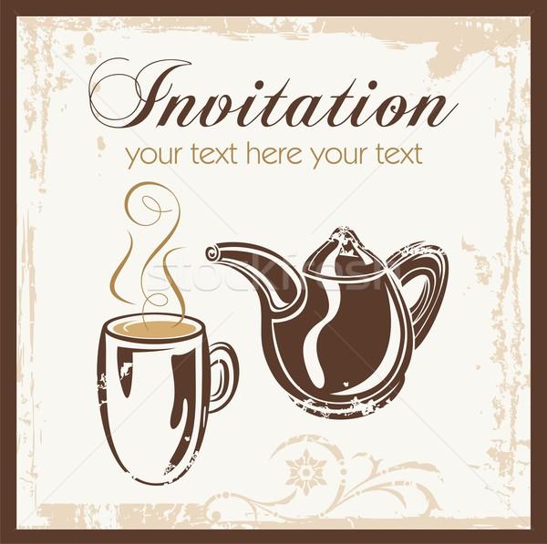 Tea idő buli meghívó hely buli kávézó Stock fotó © clipart_design