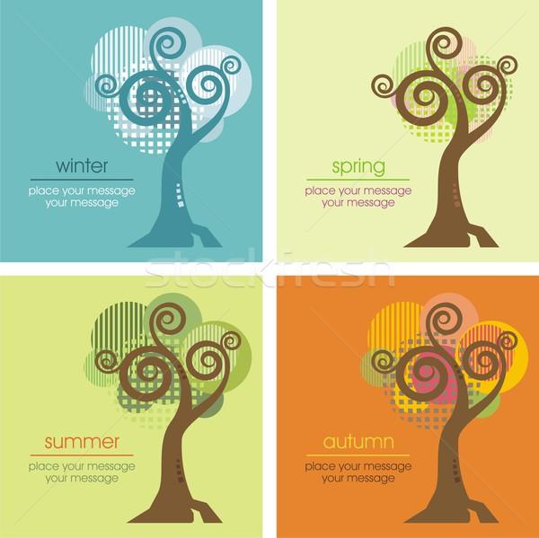 Wektora drzewo cztery inny pory roku wiosną Zdjęcia stock © clipart_design
