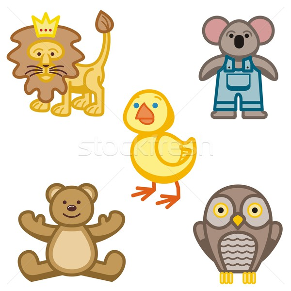 Bebê ícones animais pássaro macaco coroa Foto stock © clipart_design