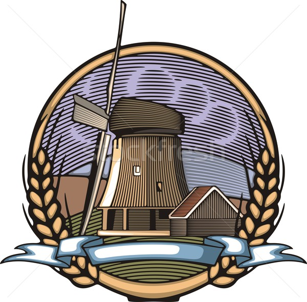 Vector illustration of a windmill and a farm, surrounded by fields and mountains, done in retro wood Stock photo © clipart_design