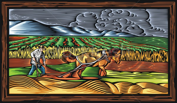 Vector illustration in retro woodcut style of a farmer, ploughing the land with a horse. Stock photo © clipart_design