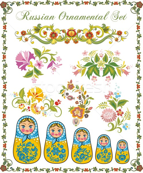 Stock photo: Vector ornamental set in traditional Russian style -  Matryoshka dolls and various floral designs.