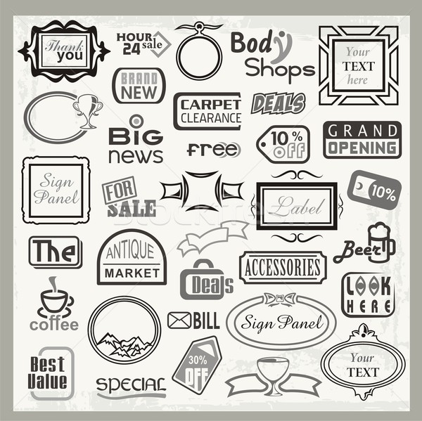 Vector set of vinyl ready sign designs and banner headers and labels. Stock photo © clipart_design