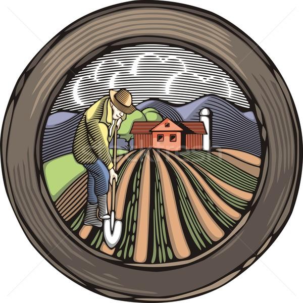 ретро стиль фермер землю иллюстрация Сток-фото © clipart_design