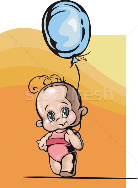 Vector illustration of a baby girl with a blue balloon. Stock photo © clipart_design