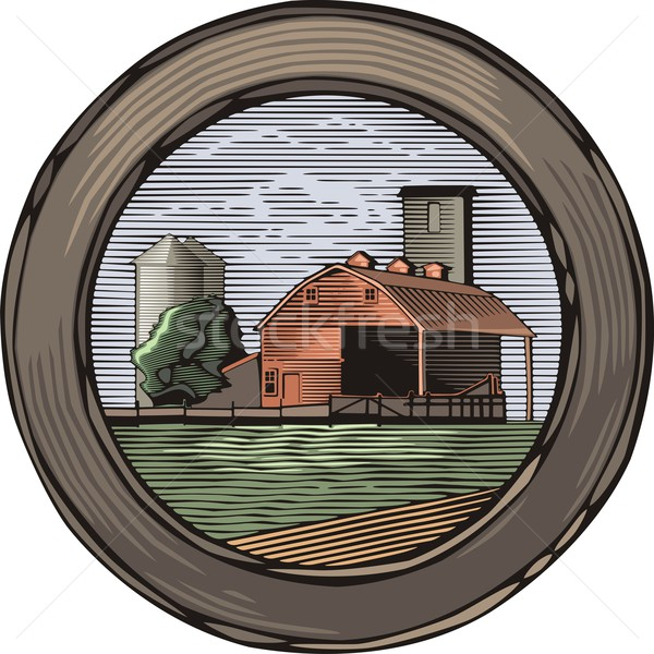 Vector illustration of a farm in retro woodcut style. Stock photo © clipart_design