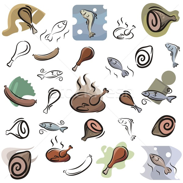 Vector Icon Series. Meat & Fish. Stock photo © clipart_design