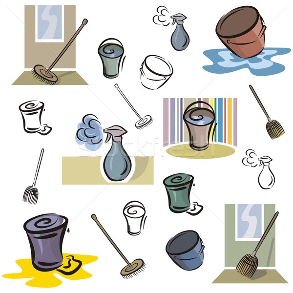Vector Icon Series. Washing & Cleaning Tools. Stock photo © clipart_design
