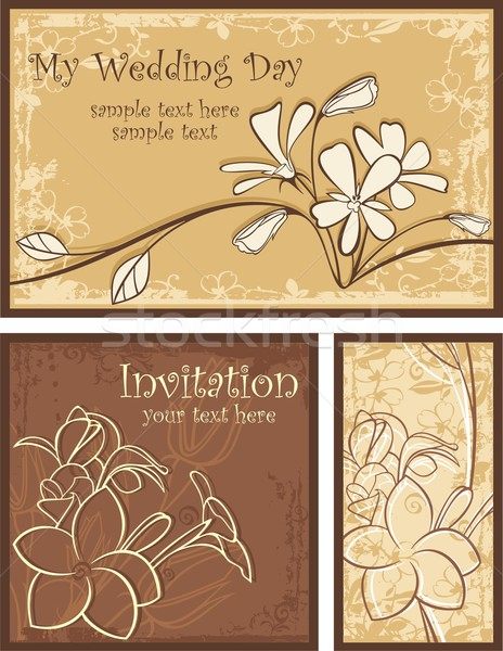 Vector set of ornamental invitation designs with flowers. Great for wedding invitations. Stock photo © clipart_design