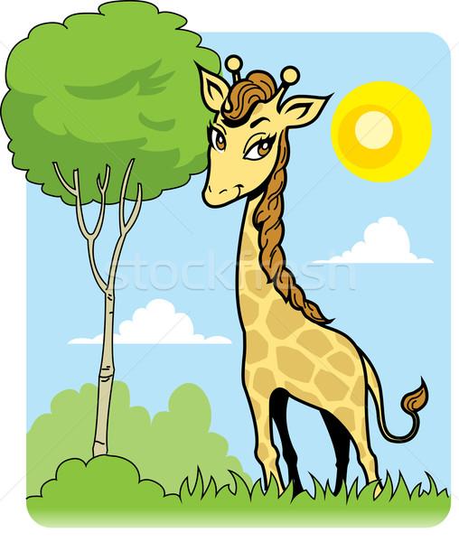 Sevimli zürafa ağaç güzel gözler Afrika Stok fotoğraf © ClipArtMascots