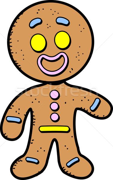 Gingerbread man mutlu gülen karikatür kurabiye adam Stok fotoğraf © ClipArtMascots