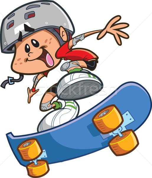 Skateboard ragazzo casco felice cartoon indossare Foto d'archivio © ClipArtMascots