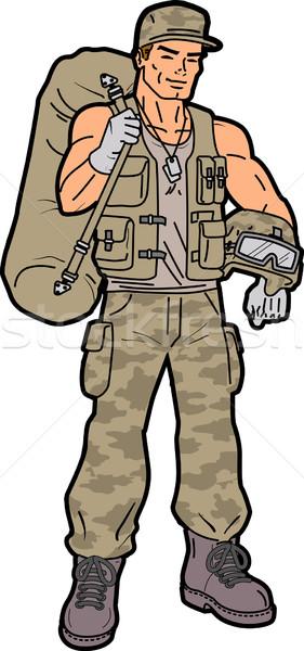 兵士 ハンサム 笑みを浮かべて アメリカン ワーカー 仕事 ストックフォト © ClipArtMascots