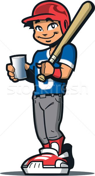 野球選手 ドリンク 笑みを浮かべて 野球 ソフトボール プレーヤー ストックフォト © ClipArtMascots