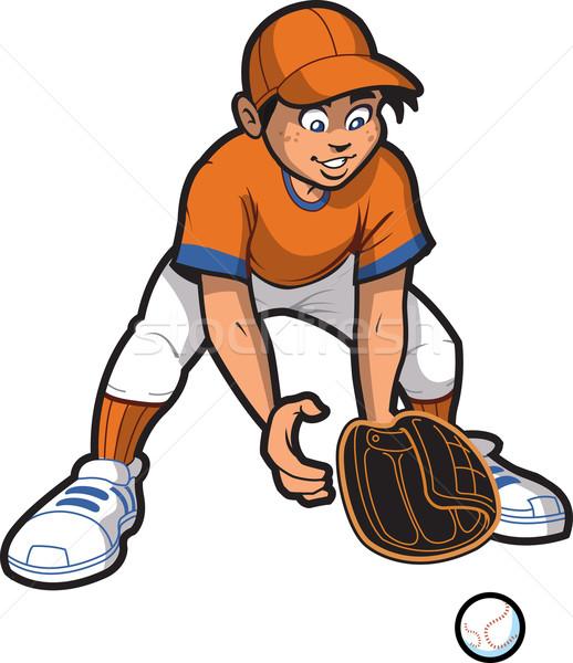 Fiatalember baseball softball föld labda mosoly Stock fotó © ClipArtMascots