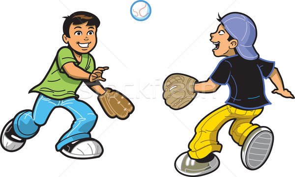Boys Playing Catch Stock photo © ClipArtMascots