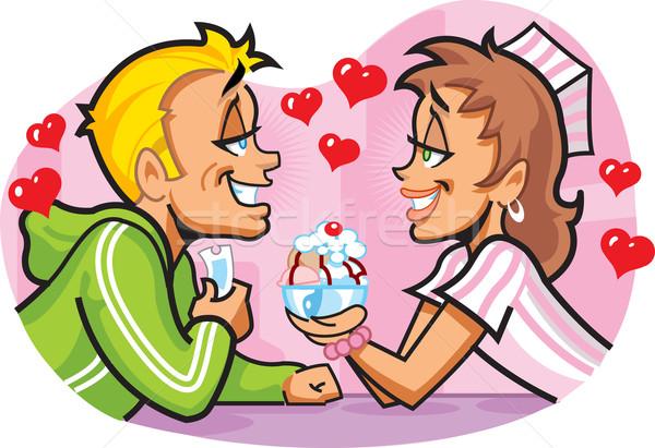 Ijscoupe gelukkig romantische datum hart Stockfoto © ClipArtMascots