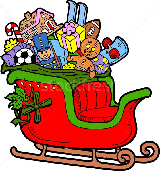 Szánkó karácsony játékok ajándékok tél ünnep Stock fotó © ClipArtMascots