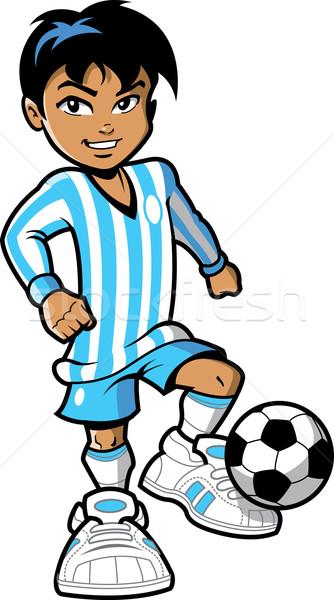 Futbolcu gülen genç erkek futbol Stok fotoğraf © ClipArtMascots