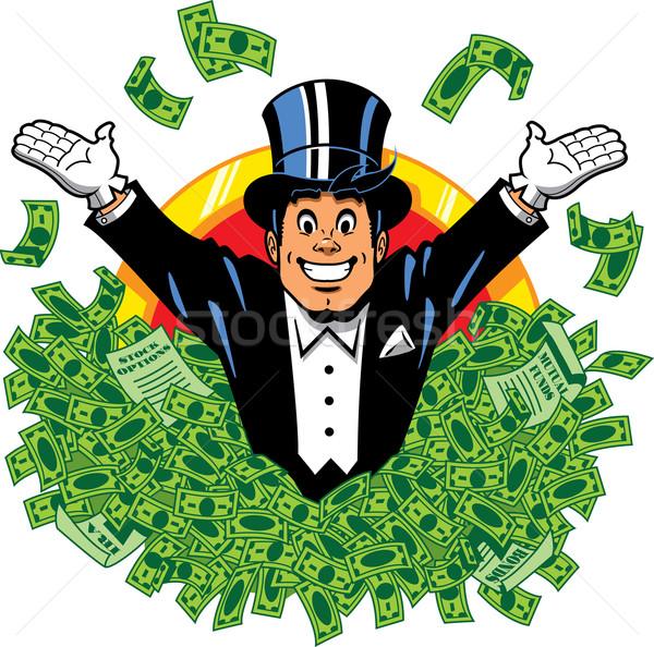 Rijke rijk gelukkig miljonair top hoed Stockfoto © ClipArtMascots