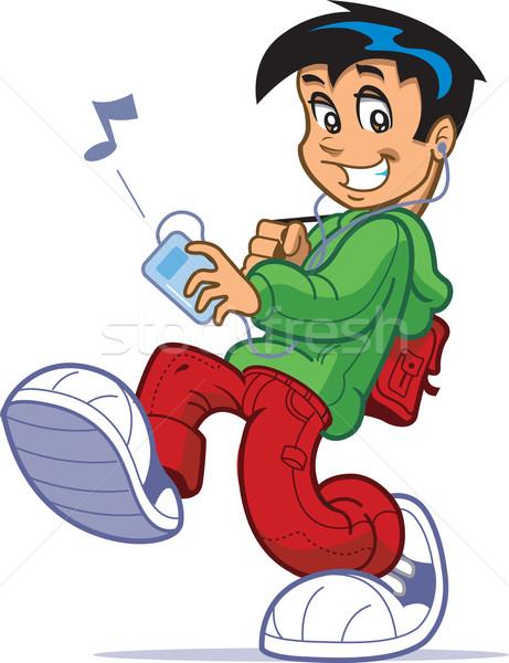 少年 音楽を聴く クール 子供 ビッグ ストックフォト © ClipArtMascots
