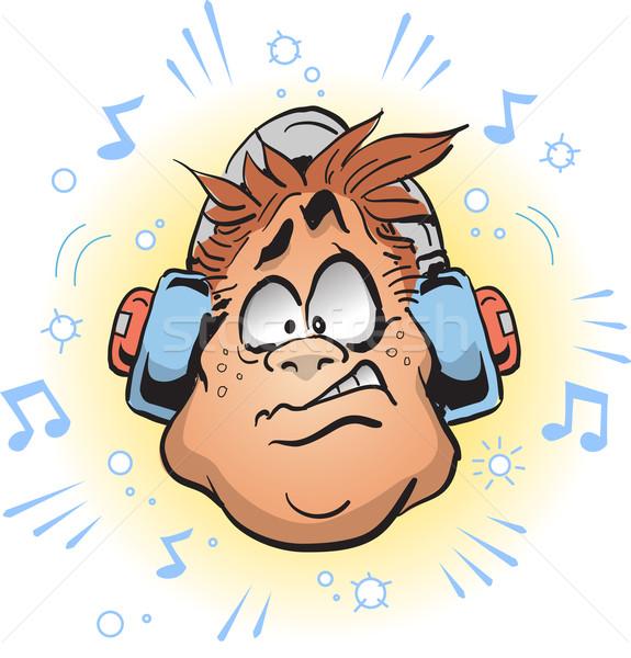 騒々しい ヘッドホン 男 着用 顔 頭 ストックフォト © ClipArtMascots