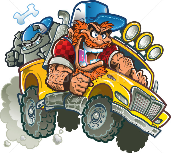 Stock photo: Crazy Redneck In Pickup Truck