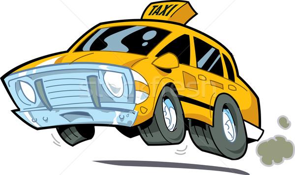 Száguld taxi rajz illusztráció New York város Stock fotó © ClipArtMascots