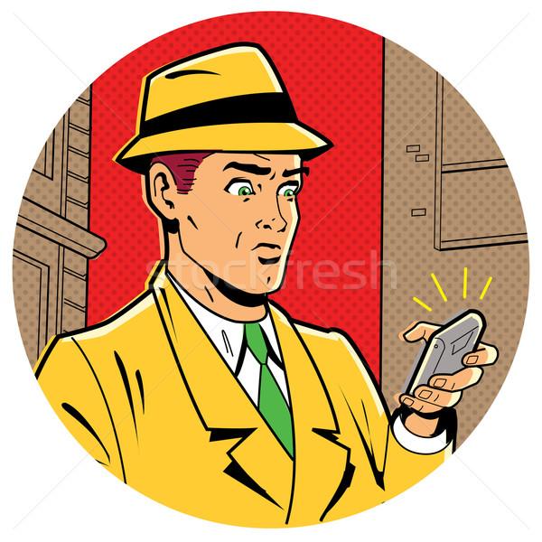Retro man telefoon ironisch illustratie klassiek Stockfoto © ClipArtMascots