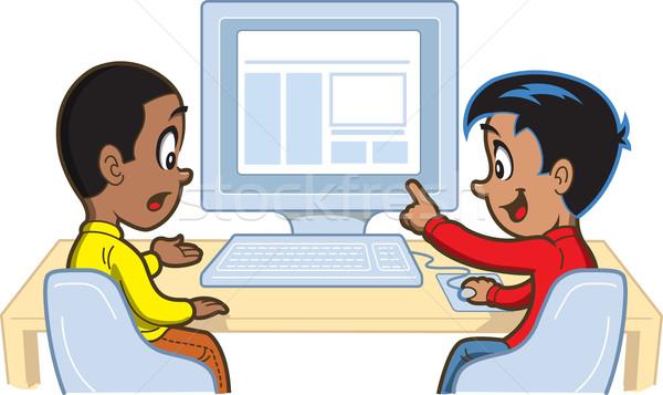 Jongens computer twee jonge naar iets Stockfoto © ClipArtMascots