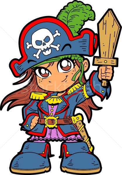 Cute meisje piraat jonge anime manga Stockfoto © ClipArtMascots