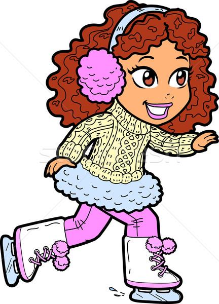 Fiatal lány korcsolyázás aranyos fiatal barna hajú lány Stock fotó © ClipArtMascots