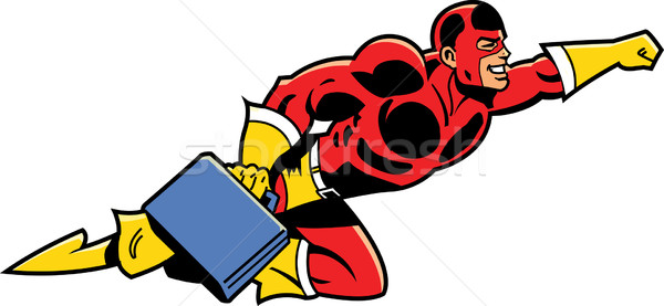 Flying Business Superhero With Briefcase Stock photo © ClipArtMascots